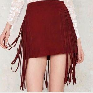 Nasty Girl Good Swings Come Suede Fringe Skirt